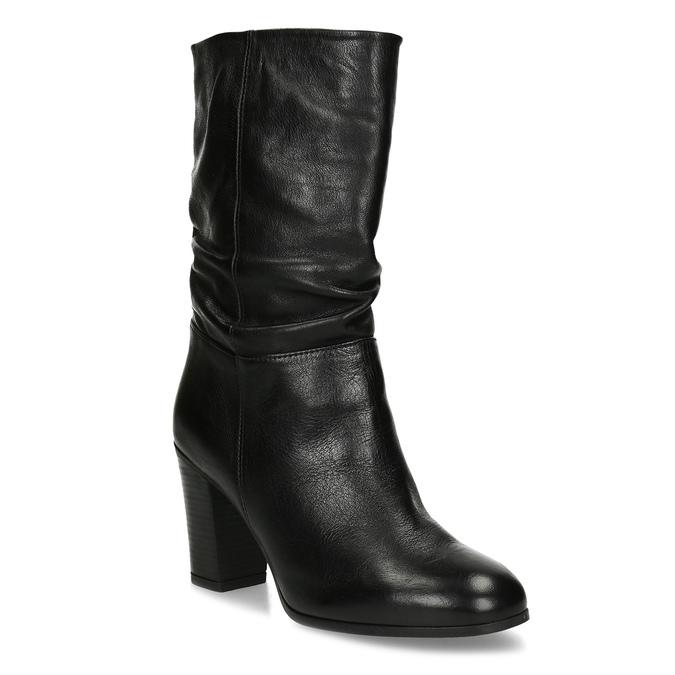 Černé dámské kožené kozačky s řasením bata, černá, 694-6622 - 13