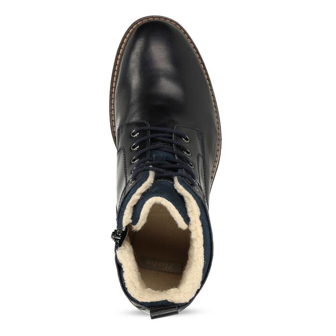 Pánská kožená kotníčková obuv se zateplením bata, modrá, 896-9749 - 17