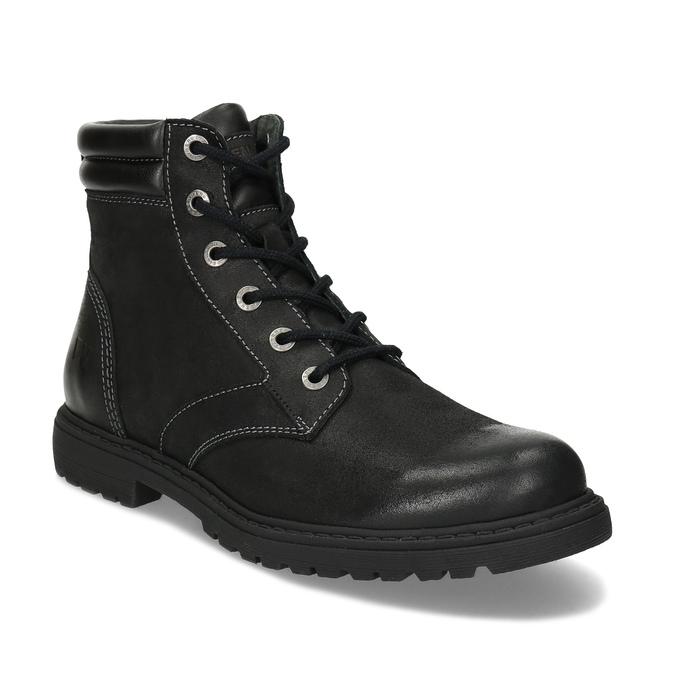 Černá kožená kotníčková obuv s prošitím weinbrenner, černá, 896-6693 - 13