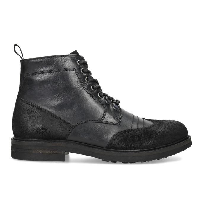Kotníčková pánská kožená obuv bata, černá, 896-6768 - 19