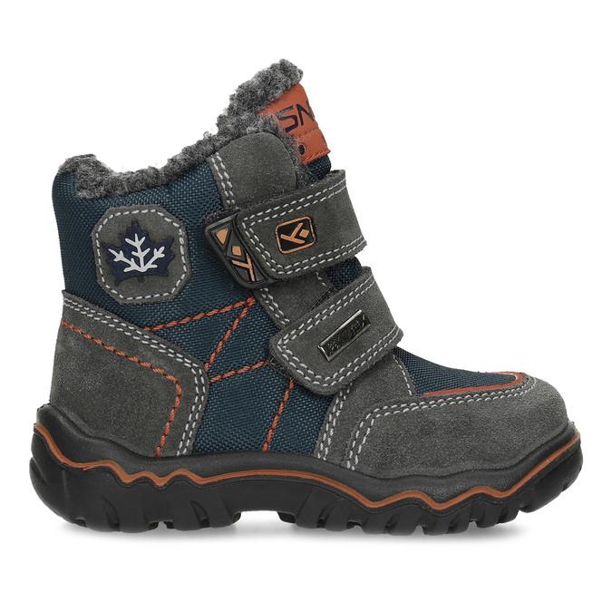 Dětská kožená zimní obuv na suché zipy bubblegummers, šedá, 193-3605 - 19