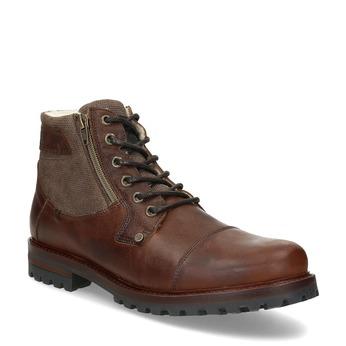 Hnědá pánská kožená kotníčková obuv bata, hnědá, 896-4747 - 13