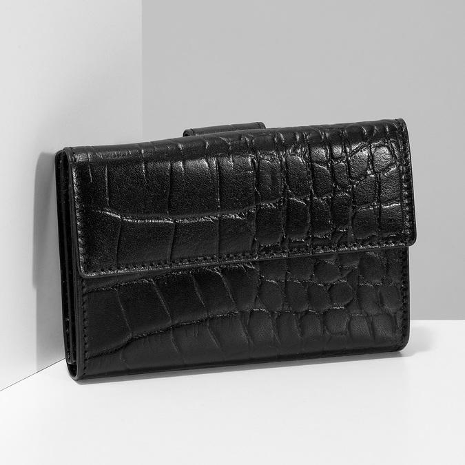 Dámská kožená peněženka se strukturou bata, černá, 944-6617 - 17