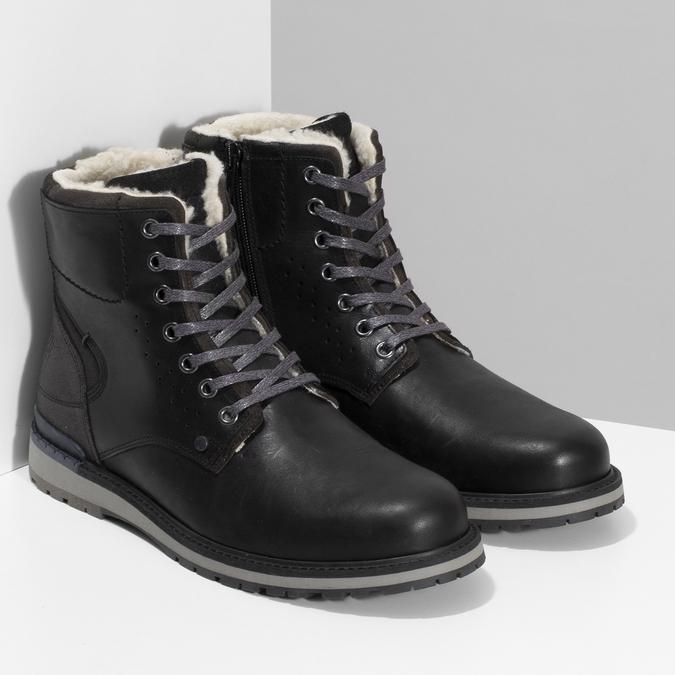 Pánská černá kožená zimní obuv bata, černá, 896-6746 - 26