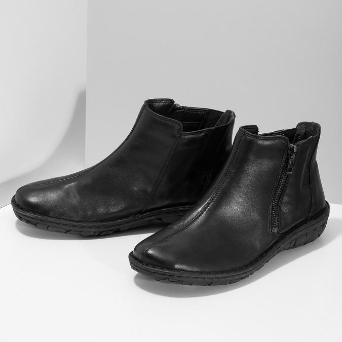 Černé dámské kotníčkové kožené kozačky bata, černá, 594-6624 - 16