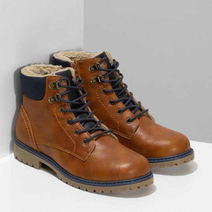 Hnědá dětská kotníčková obuv s prošitím mini-b, hnědá, 491-3667 - 26