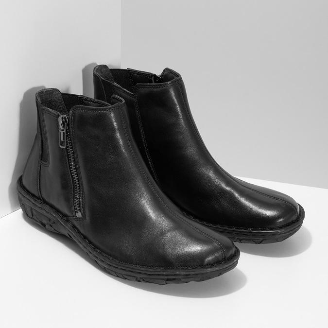 Černé dámské kotníčkové kožené kozačky bata, černá, 594-6624 - 26