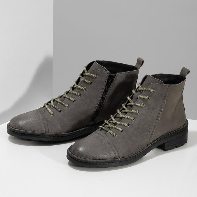 Šedá dámská kožená kotníčková obuv bata, šedá, 596-2604 - 16