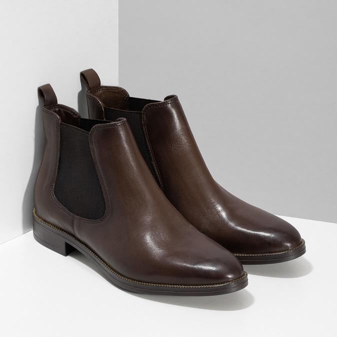 Dámská kožená hnědá Chelsea obuv bata, hnědá, 594-4645 - 26