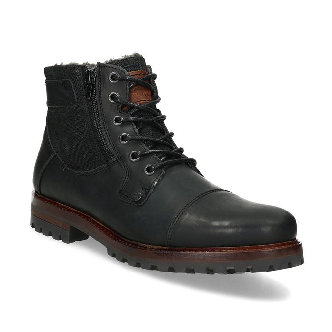 Černá pánská kožená kotníčková obuv bata, černá, 896-6747 - 13
