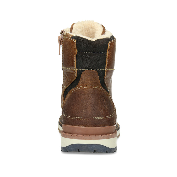 Hnědá pánská kožená zimní obuv bata, hnědá, 896-3746 - 15