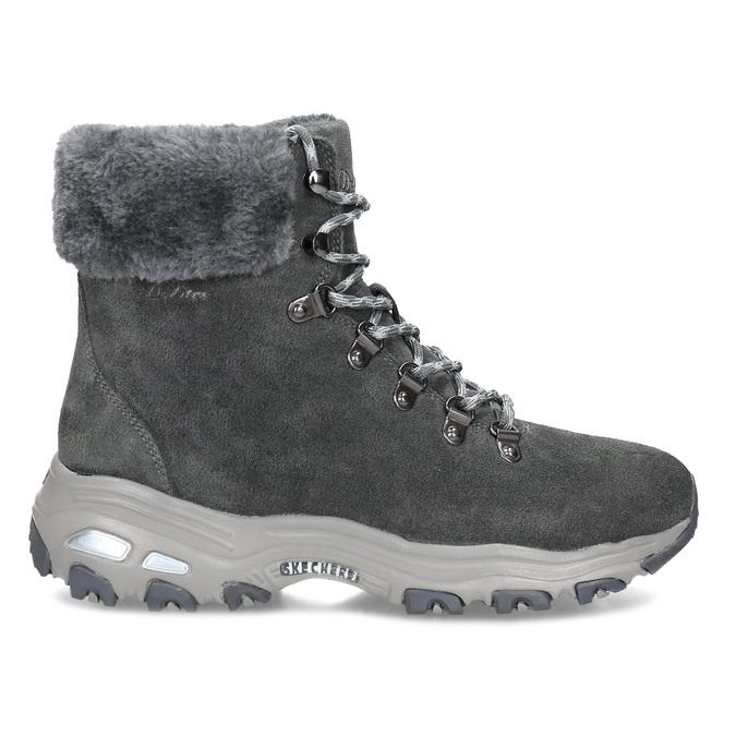 Dámská šedá zimní obuv z broušené kůže skechers, šedá, 593-2110 - 19