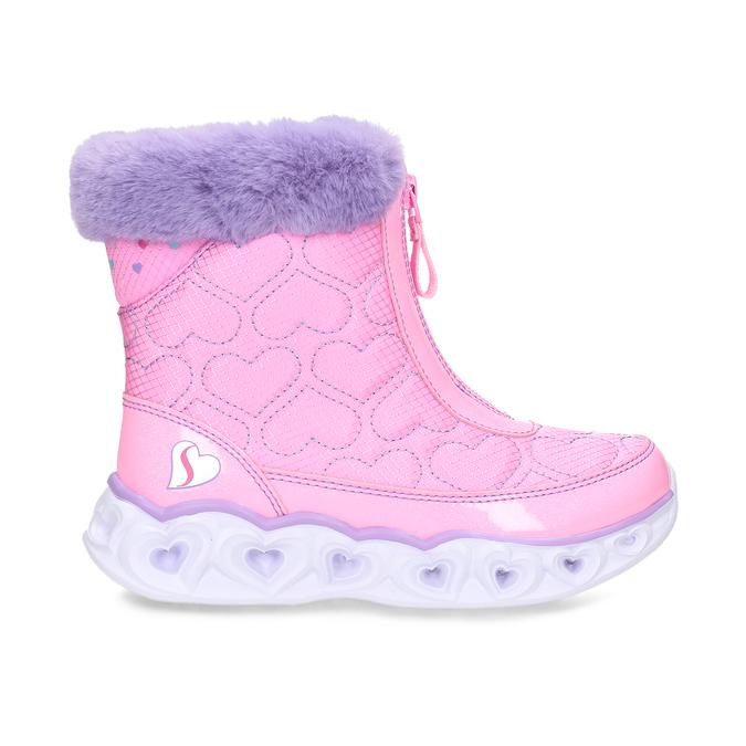 Růžové dětské sněhule s fialovým kožíškem skechers, růžová, 399-5111 - 19