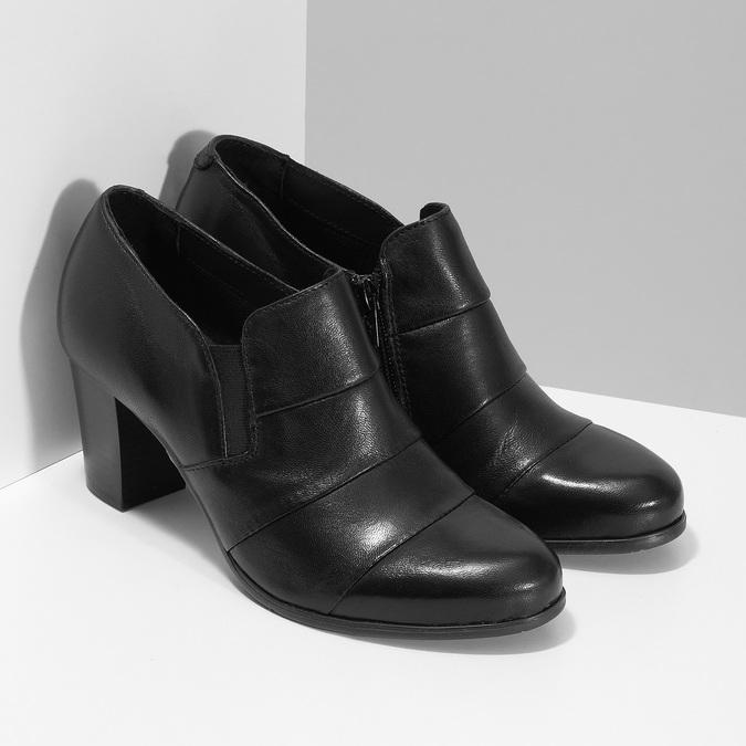 Kotníčková kožená obuv s prošitím bata, černá, 694-6609 - 26