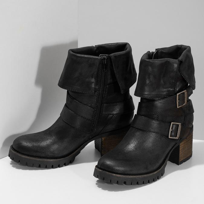 Černé dámské kozačky s přezkami bata, černá, 691-6607 - 16