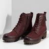 Červené dámské kotníčkové kožené kozačky bata, červená, 696-5603 - 16