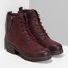 Červené dámské kotníčkové kožené kozačky bata, červená, 696-5603 - 26