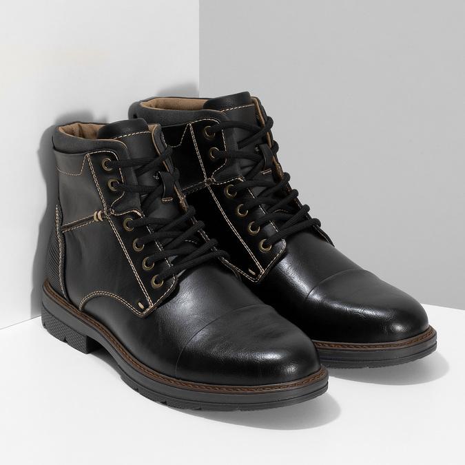 Pánská černá kotníčková obuv s prošitím bata-red-label, černá, 891-6610 - 26