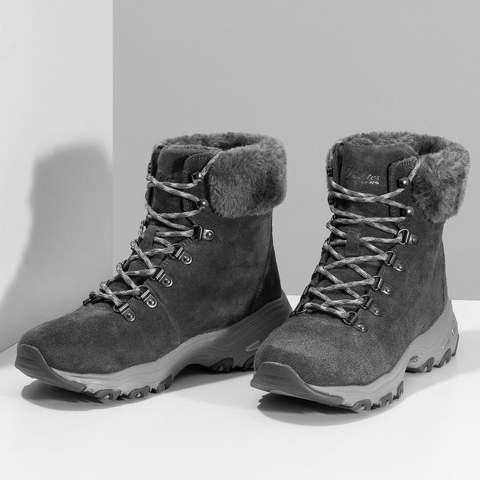 Dámská šedá zimní obuv z broušené kůže skechers, šedá, 593-2110 - 16