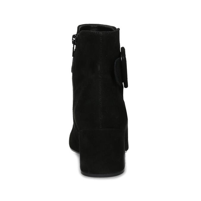 Černé kotníčkové kozačky z broušené kůže gabor, černá, 693-6104 - 15