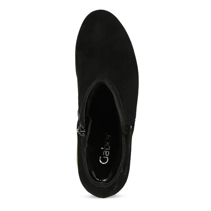 Černé kotníčkové kozačky z broušené kůže gabor, černá, 693-6104 - 17