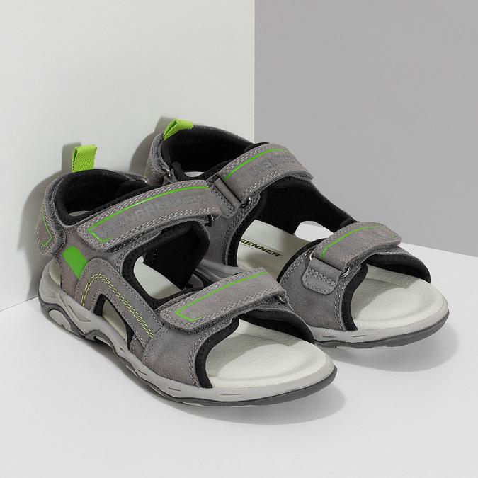 Chlapecké šedé sandály kožené weinbrenner, šedá, 463-2608 - 26