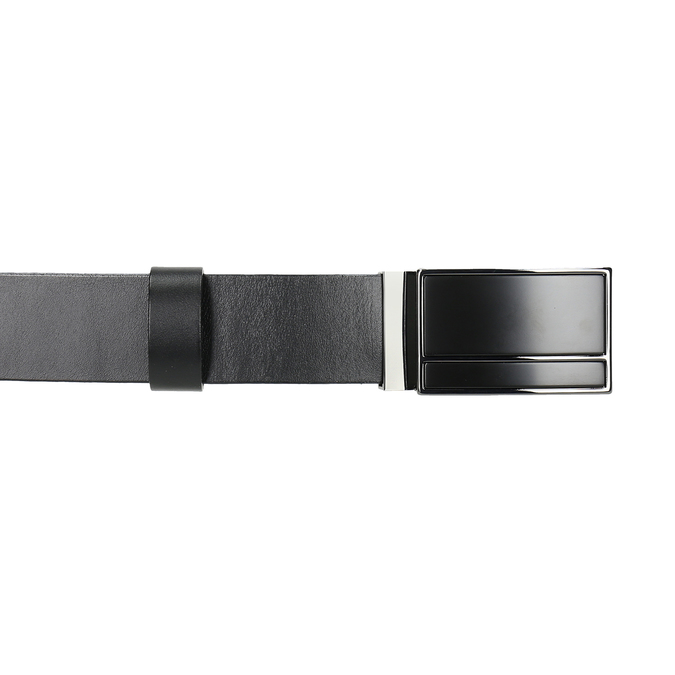 Černý pánský kožený opasek s kovovou sponou bata, černá, 954-6605 - 26