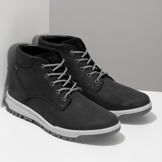 Černá pánská kotníčková obuv z broušené kůže weinbrenner, černá, 896-6396 - 26