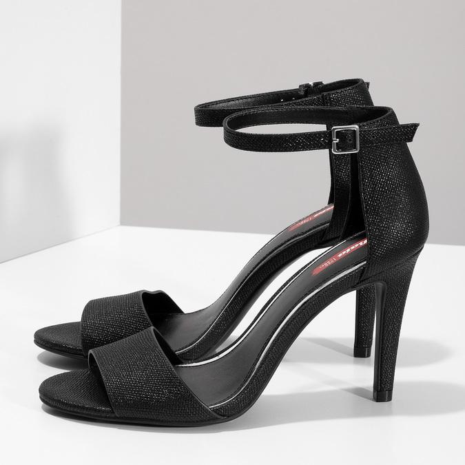 Černé sandály na podpatku se třpytkami bata-red-label, černá, 721-6621 - 16