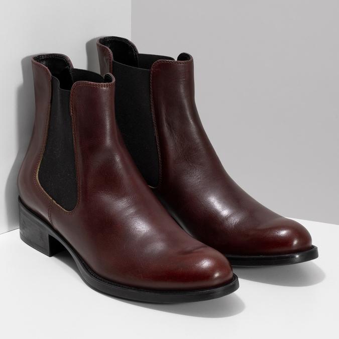 Kožená bordó dámská obuv v Chelsea stylu bata, 594-4447 - 26