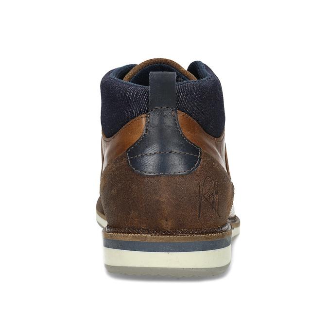 Hnědá kožená pánská kotníčková obuv bata, hnědá, 826-3603 - 15