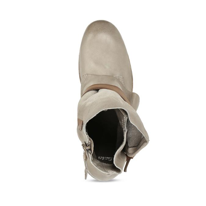 Hnědé dámské kožené kozačky s přezkami bata, šedá, 596-2602 - 17