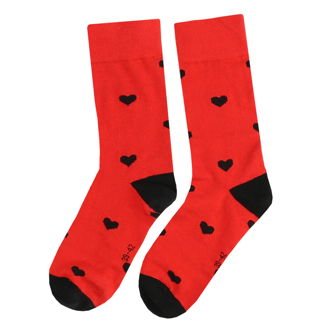 Černo-červené ponožky se srdci bata, vícebarevné, 919-0914 - 26