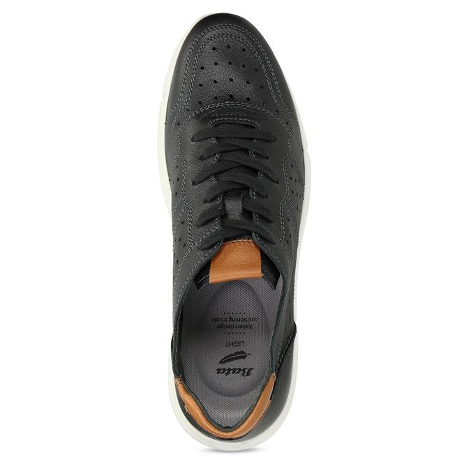 Pánské kožené černé tenisky městského typu bata-light, černá, 844-6650 - 17