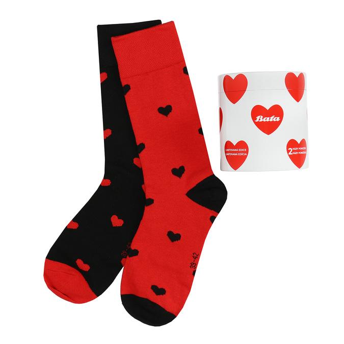 Černo-červené ponožky se srdci bata, vícebarevné, 919-0914 - 13