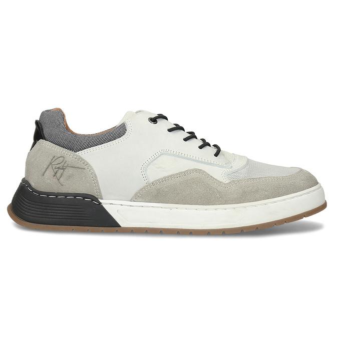 Bílé kožené ležérní tenisky bata, šedá, 846-1602 - 19