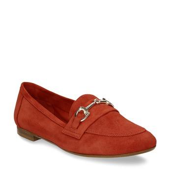 Dámské červené mokasíny z broušené kůže bata, červená, 513-5601 - 13