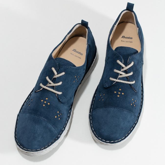 Dámské modré polobotky z broušené kůže bata, modrá, 523-9606 - 16