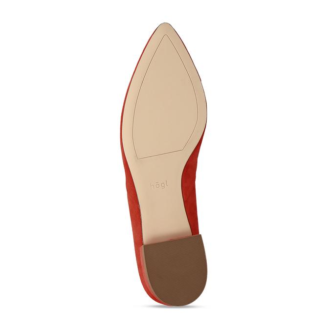 Kožené červené lodičky na nízkém podpatku s páskem hogl, červená, 563-5102 - 18