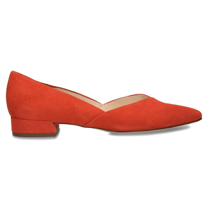 Kožené červené lodičky na nízkém podpatku hogl, červená, 623-5102 - 19