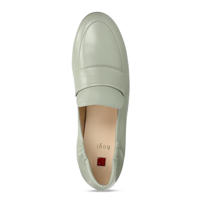 Dámská kožená světle zelená loafers obuv hogl, zelená, 514-6108 - 17