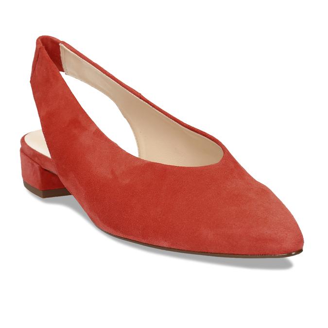 Kožené červené lodičky na nízkém podpatku s páskem hogl, červená, 563-5102 - 13