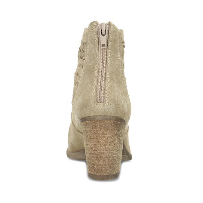 Dámské béžové kožené kotníčkové kozačky bata, béžová, 693-8604 - 15