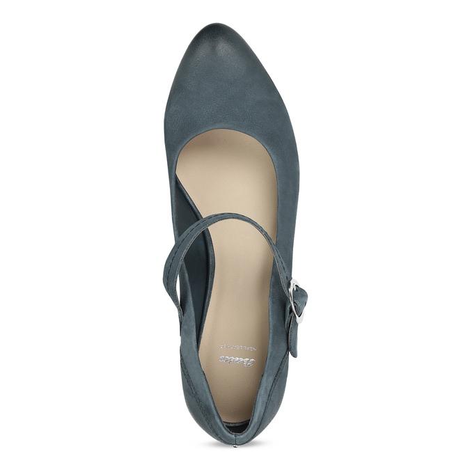 Dámské modré lodičky z broušené kůže bata, modrá, 626-9606 - 17