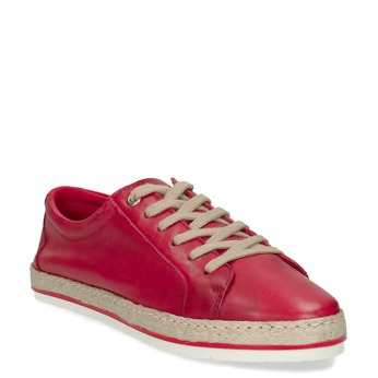 Červené dámské kožené tenisky s jutou bata, červená, 544-5604 - 13