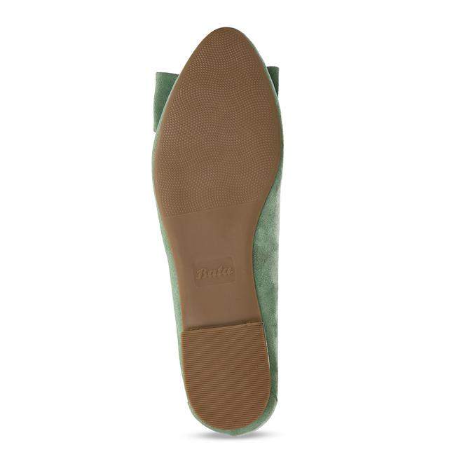 Zelené dámské baleríny s mašlí bata, zelená, 529-7602 - 18