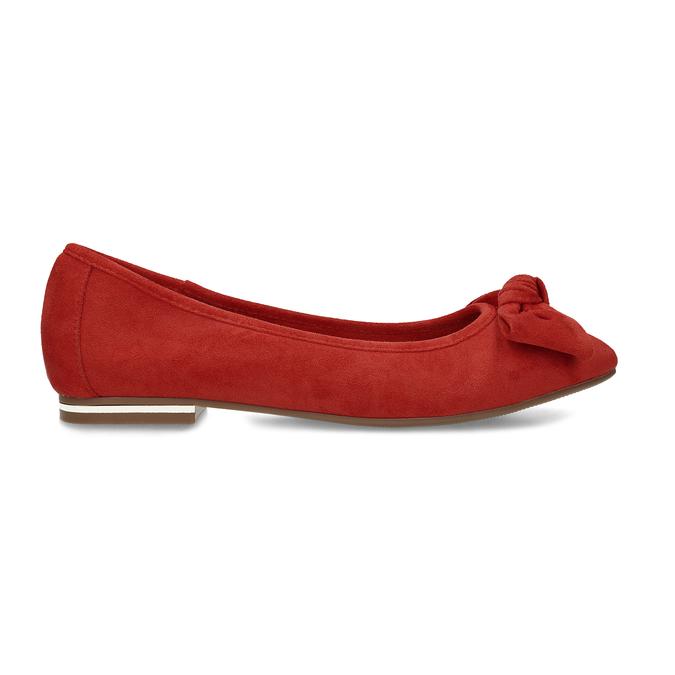 Dámské červené baleríny s mašlí bata, červená, 529-5602 - 19