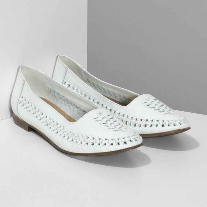 Bílé kožené dámské mokasíny s propletením bata, bílá, 524-1607 - 26