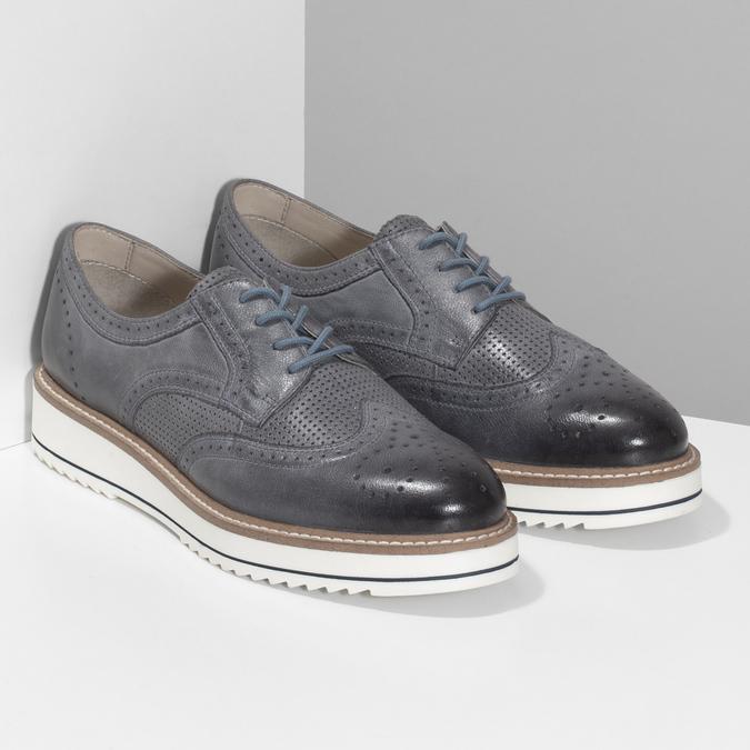 Dámské šedé kožené ležérní polobotky bata, šedá, 524-2601 - 26