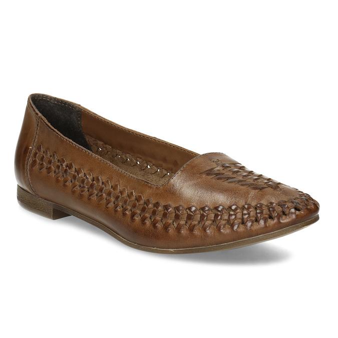 Dámské hnědé kožené mokasíny s propletením bata, hnědá, 524-4607 - 13